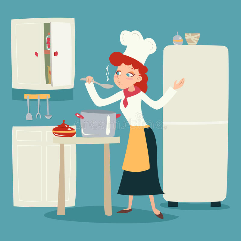 Chief Cook Happy Smiling Female Character Serving royalty free illustration