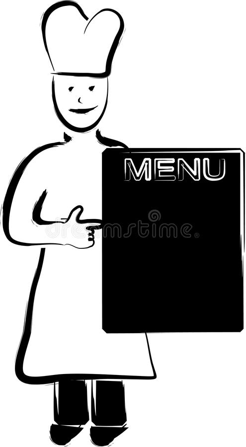 Chief Cook And Menu Panel Royalty Free Stock Images
