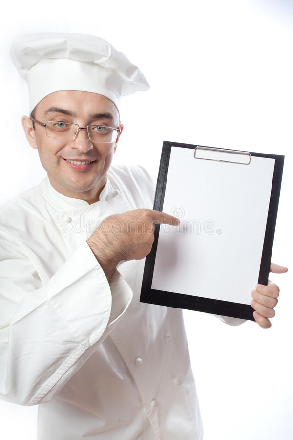 Chief Cook Showing Menu Stock Images