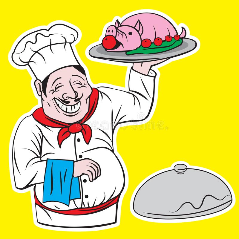 Chief cook with tray illustration cartoon character royalty free illustration