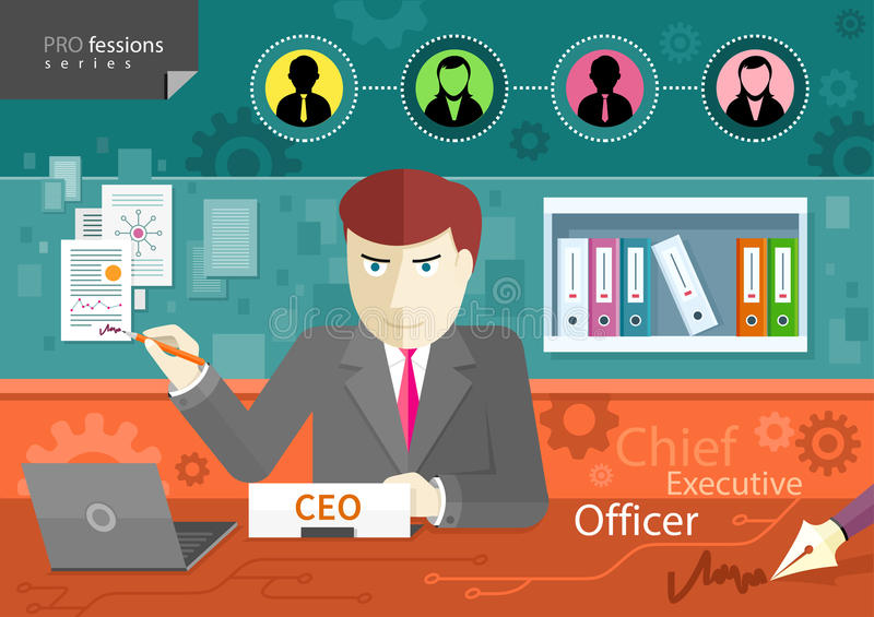 Chief executive officer sitting at table in office royalty free illustration