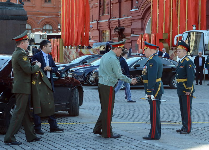 Chief of the General staff of the RF, General of the army Valery Gerasimov and Commander of Land forces General Oleg Salyukov. MOSCOW, RUSSIA - MAY 07, 2016 stock photography