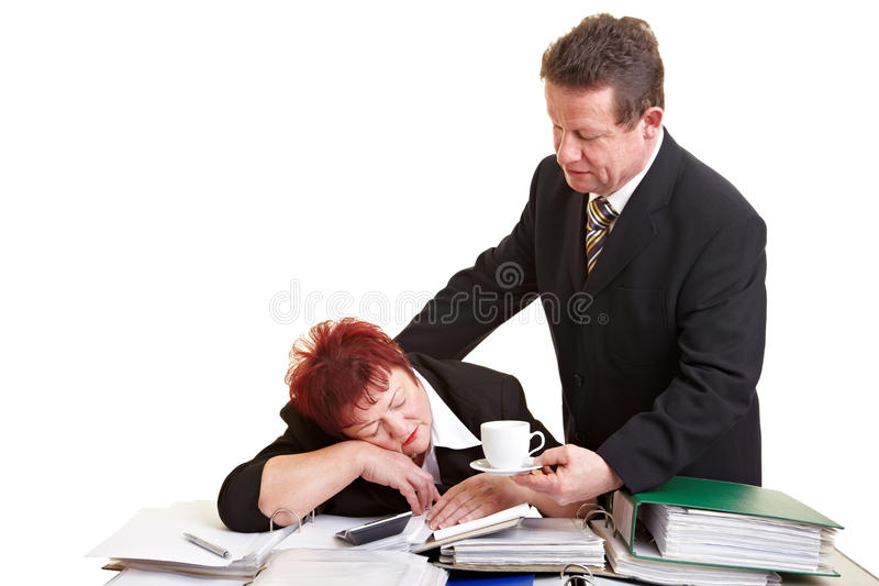 Chief offering sleeping employee stock photo