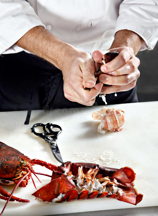 Free Chief Opening Boiled Lobster Royalty Free Stock Image - 9567246