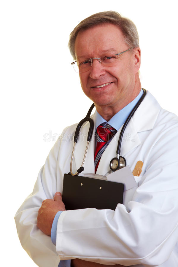 Chief Physician Holding Clipboard Royalty Free Stock Photos