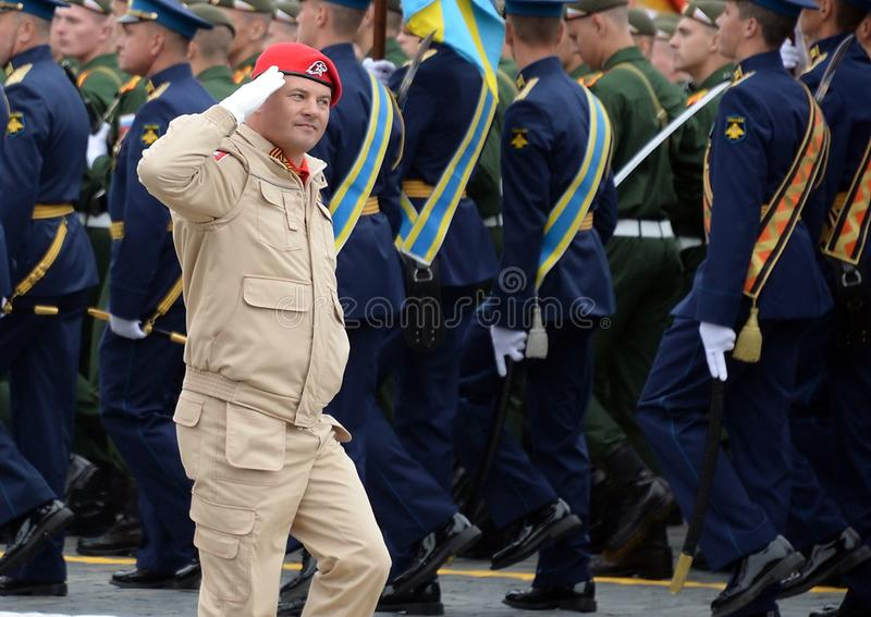 The chief of staff of the youth military-Patriotic movement `Uname` pilot-cosmonaut, Hero of Russia Roman Romanenko. MOSCOW, RUSSIA - MAY 9, 2019:The chief of stock photos