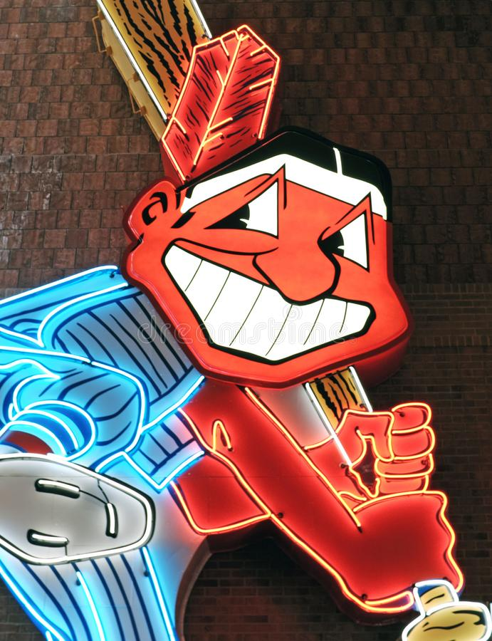 Chief Wahoo was the official mascot of the Cleveland Indians major league baseball team. stock images