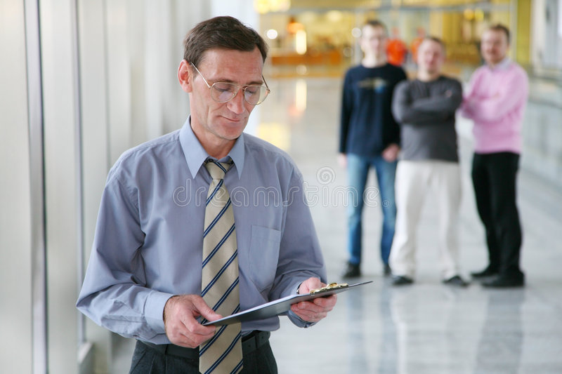 Chief and workers royalty free stock photography