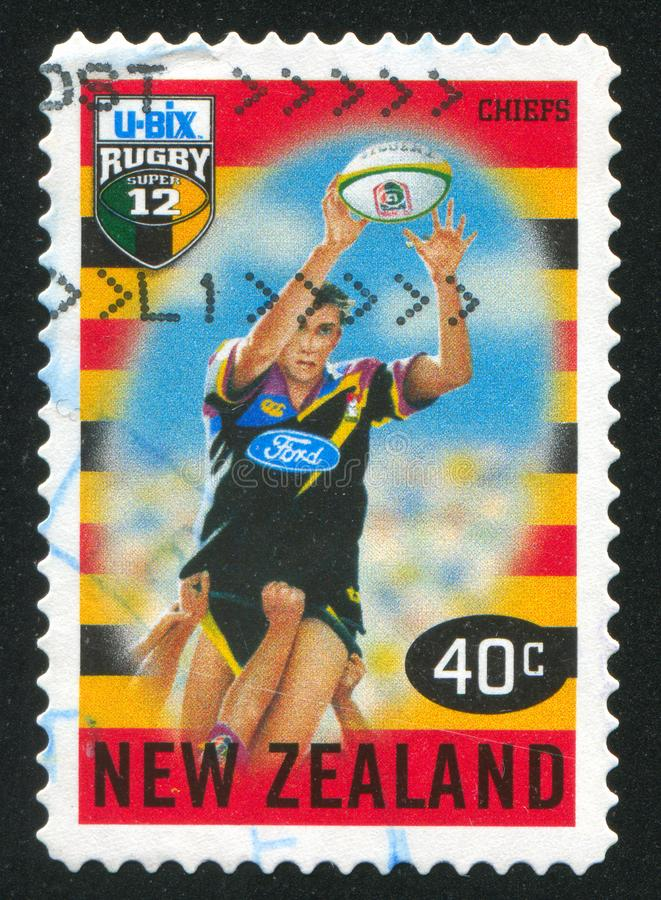 Chiefs. NEW ZEALAND - CIRCA 1999: stamp printed by New Zealand, shows New Zealand U-Bix Rugby Super, Chiefs, circa 1999 stock image