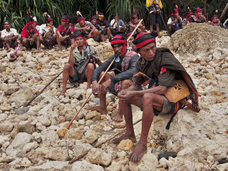Chiefs on the Sumba Island. During the important meeting before the festival pasola stock photo