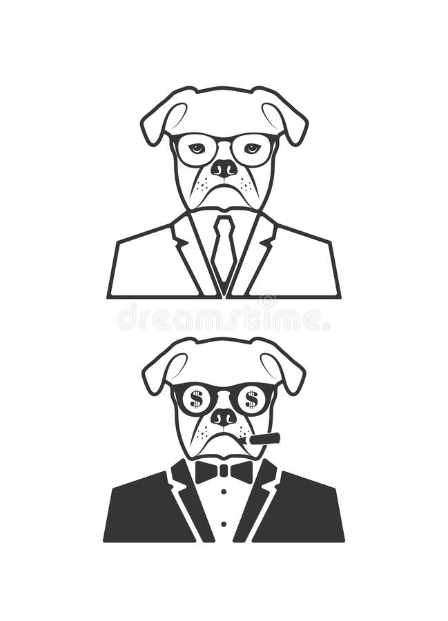 Chien à la mode d'icône illustration libre de droits
