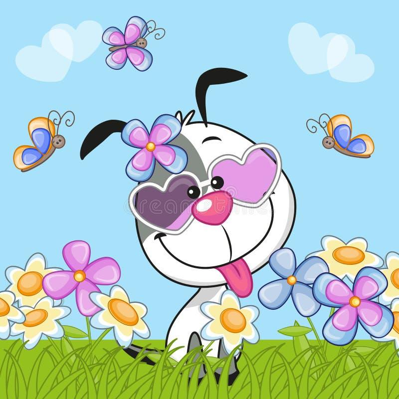 Chien avec des fleurs illustration libre de droits