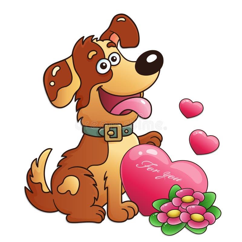 Chien avec des fleurs et coeur d'isolement sur le fond blanc Carte de voeux Anniversaire Jour du `s de Valentine pour des enfants photos stock