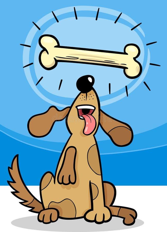 Chien avec l'illustration de bande dessinée de dogbone illustration stock
