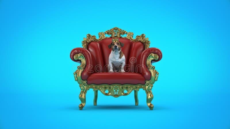 Chien avec la couronne dans une chaise image libre de droits