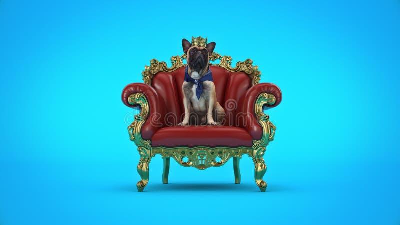 Chien avec la couronne dans une chaise image stock