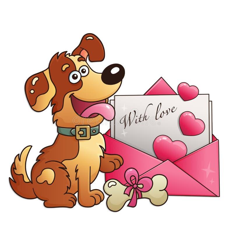 Chien avec la lettre d'isolement sur le fond blanc Carte de voeux Anniversaire Jour du `s de Valentine pour des enfants image libre de droits