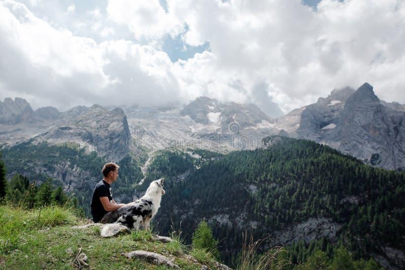 Chien avec un homme dans les montagnes au lever de soleil Voyage avec un animal familier image libre de droits