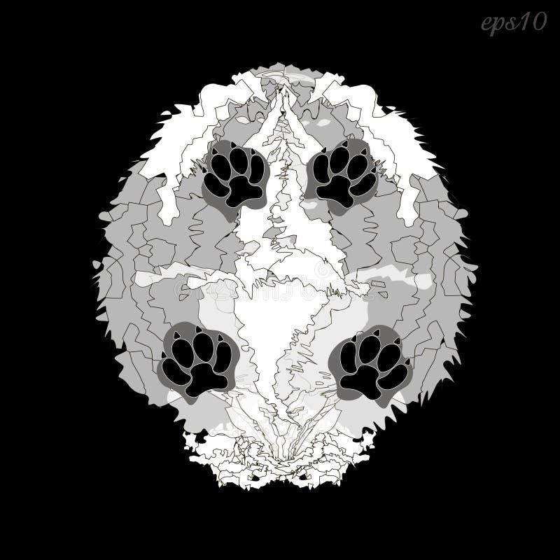 Chien blanc hirsute illustration libre de droits