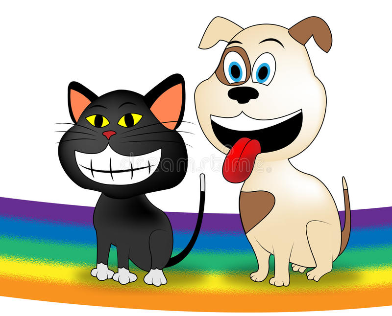 Chien Cat Rainbow Represents Colorful Doggy et chaton illustration stock