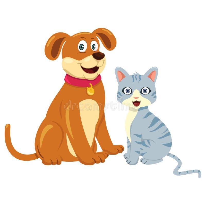 Chien Cat Sitting Together illustration de vecteur