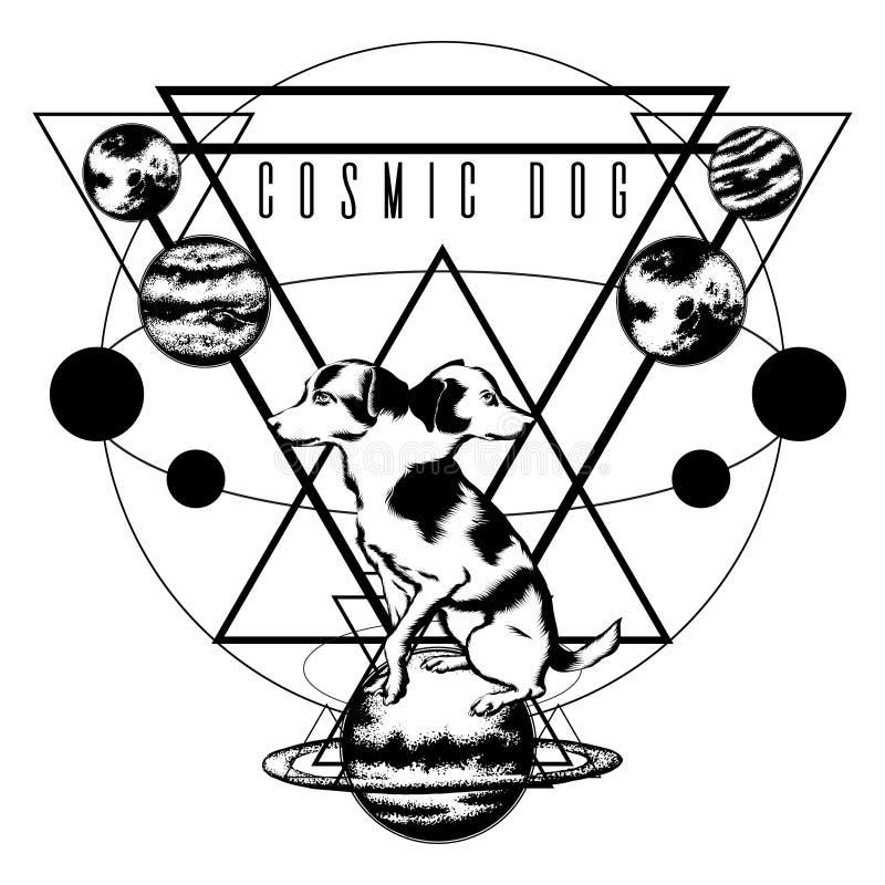 Chien cosmique Illustration tirée par la main de vecteur de chien avec deux têtes avec des planètes d'isolement images stock