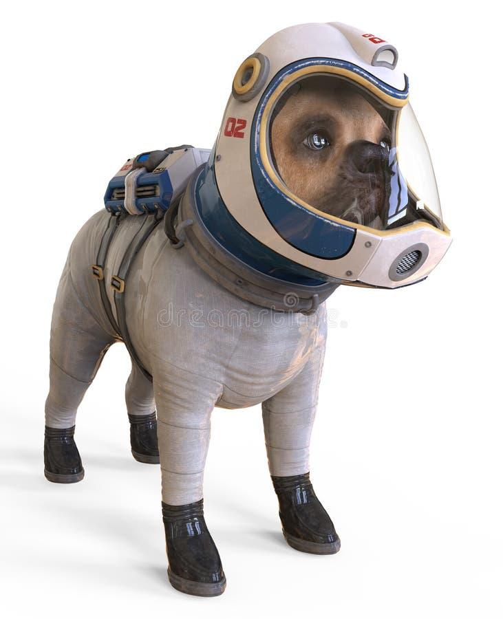 Chien dans un costume d'espace du ` s d'astronaute illustration 3d d'isolement sur le blanc illustration de vecteur