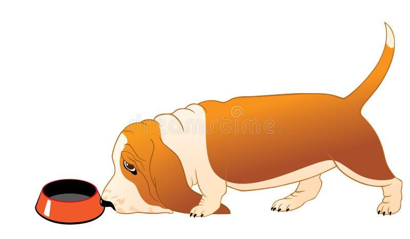 Chien de basset affamé illustration de vecteur