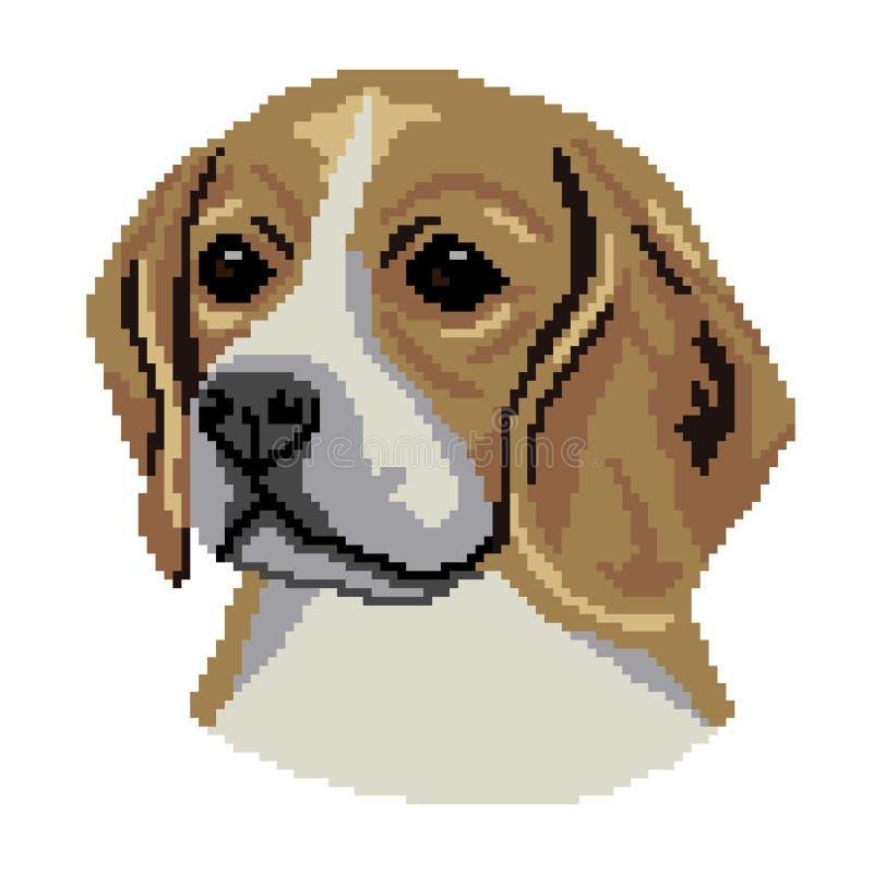 Chien de briquet, race anglaise de chien, silhouette beige brune de visage de visage, places color?es, pixels Silhouette de race  illustration libre de droits