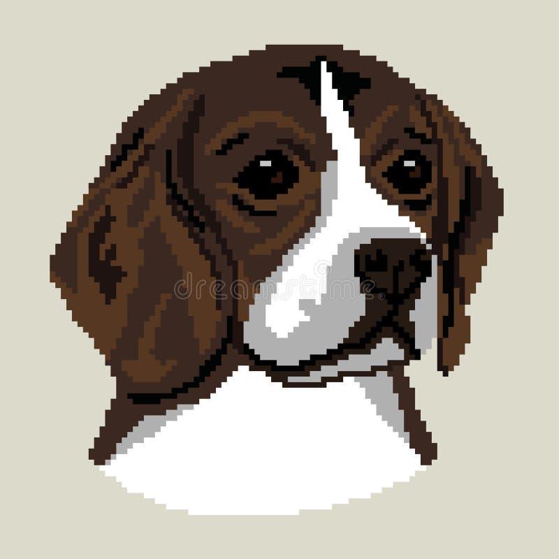 Chien de briquet, race anglaise de chien, silhouette de visage de visage noir, places color?es, pixels Silhouette de race de briq illustration libre de droits