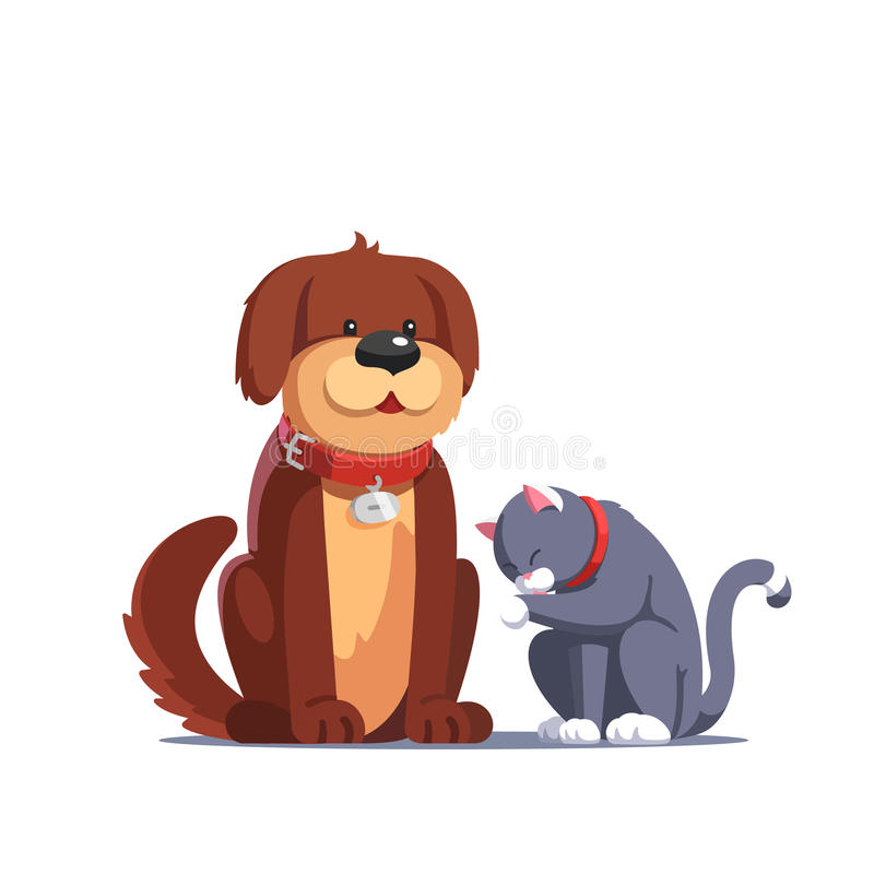 Chien de Brown se reposant près du chat gris se lavant illustration libre de droits