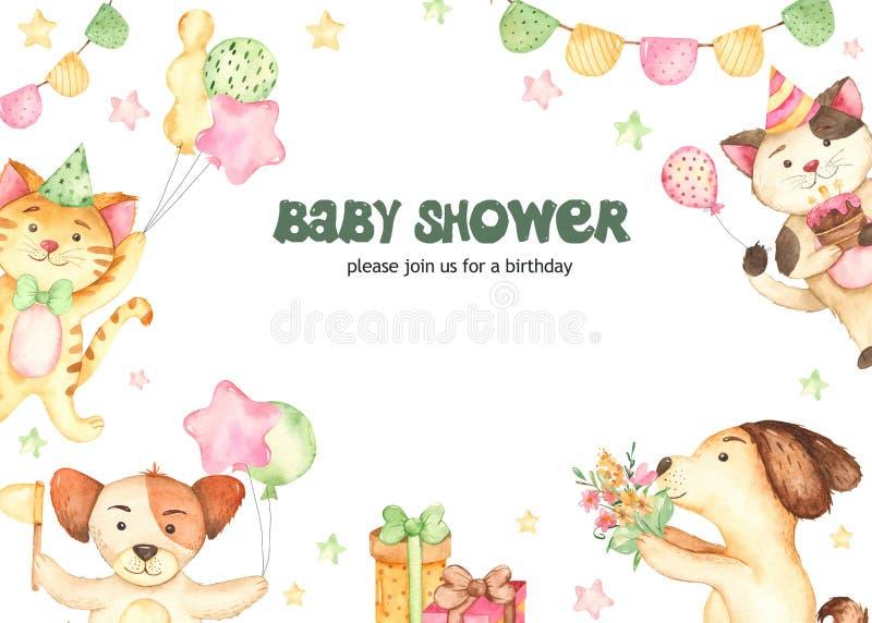 Chien de chat de l'anniversaire des enfants de carte d'invitation d'aquarelle photographie stock