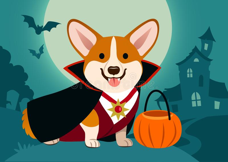 Chien de corgi de Halloween dans le costume de vampire sur le fond fantasmagorique illustration stock