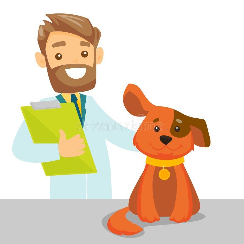 Chien de examen vétérinaire blanc caucasien illustration stock