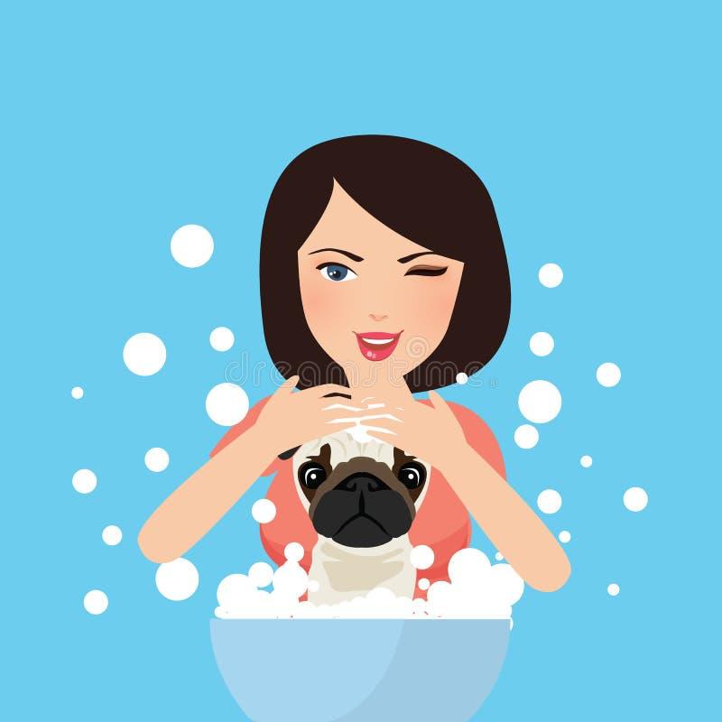 Chien de lavage de jeune groomer professionnel d'animal familier se baignant avec du savon illustration stock