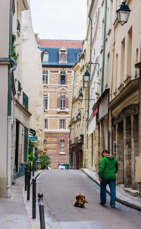 Chien de marche d'homme dans le quart latin Paris france photo libre de droits