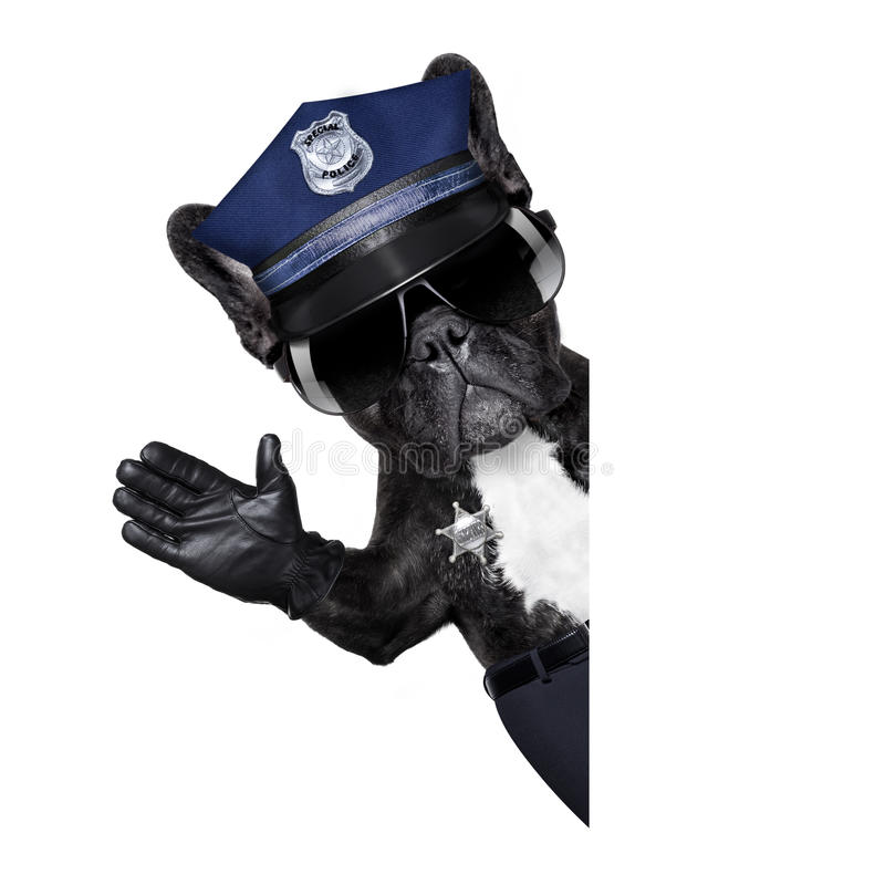 Chien de policier avec le signe d'arrêt photos stock