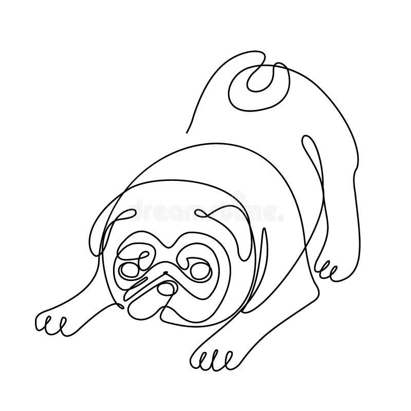Chien de roquet, un dessin au trait illustration de vecteur