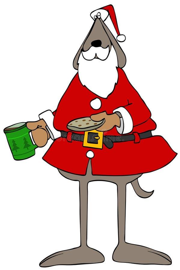 Chien de Santa tenant le chocolat chaud et un biscuit illustration stock