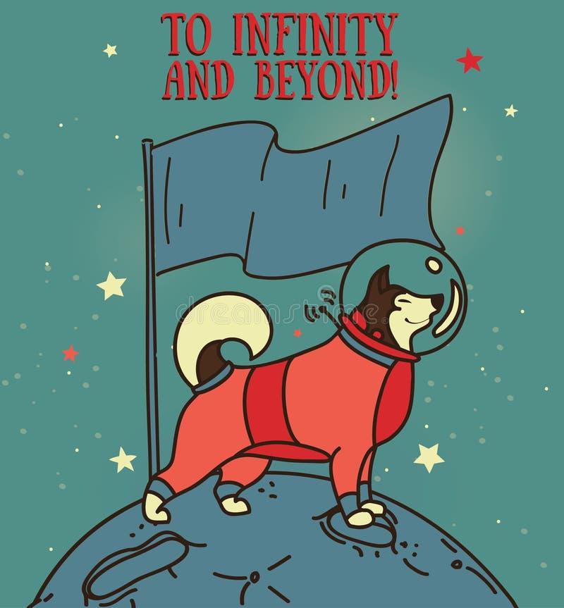 Chien de traîneau mignon dans la combinaison spatiale avec le drapeau sur la nouvelle planète illustration libre de droits