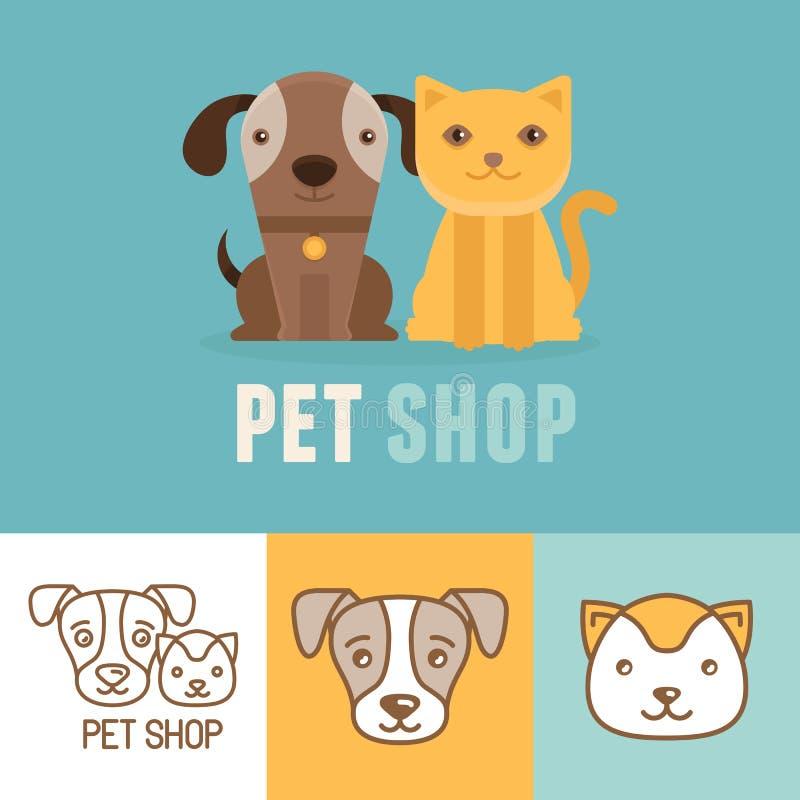 Chien de vecteur et icônes et logos de chat illustration de vecteur