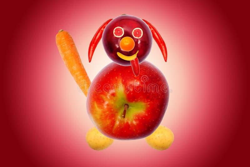 Chien drôle, fait à partir des fruits et légumes images libres de droits