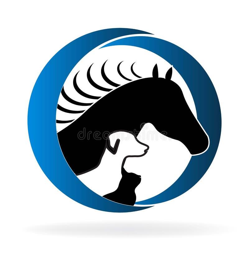 Chien et chat de cheval de logo illustration libre de droits