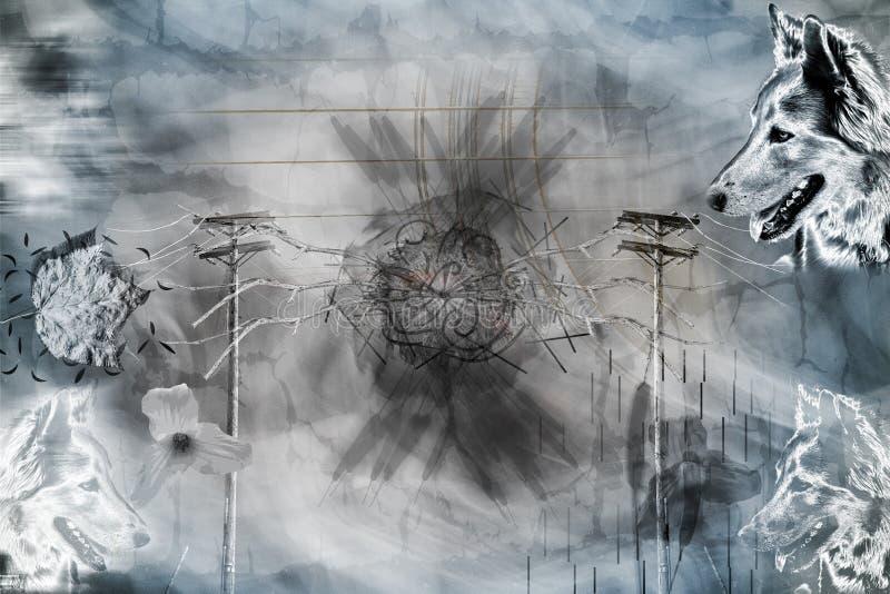 Chien et d'autres illustration d'éléments de nature illustration libre de droits
