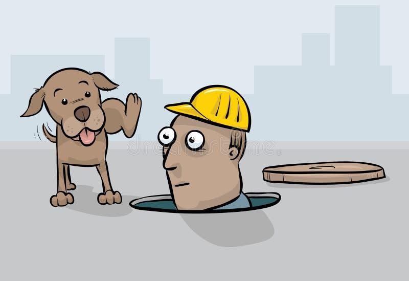 Chien faisant pipi sur le travailleur illustration libre de droits