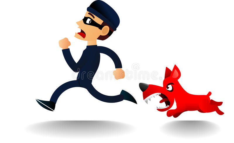 Chien furieux chassant le voleur effrayé illustration de vecteur