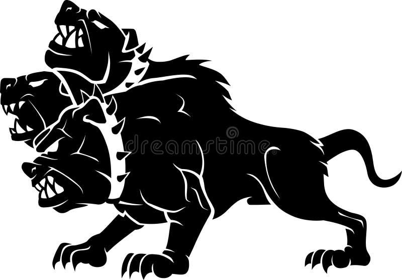 Chien géant dirigé de Ceberus trois, bête mythique illustration stock
