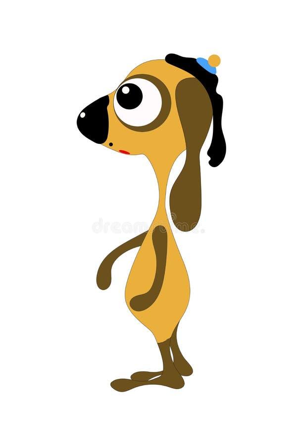 Chien jaune de main-drow plate le chef heureux de crabots mignons effront?s de personnage de dessin anim? de fond a isol? le blan illustration stock