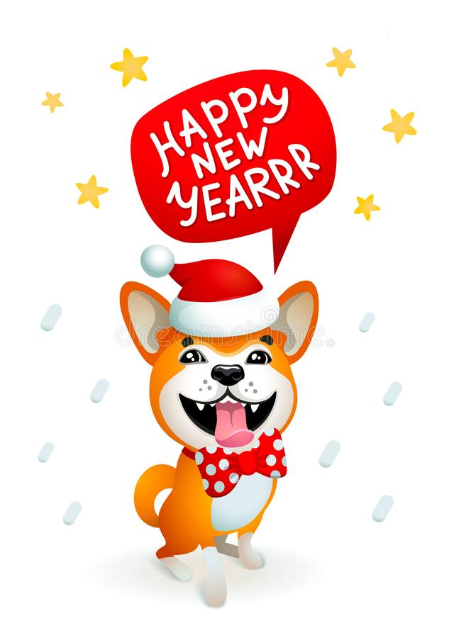 Chien mignon avec l'inscription de bonne année Chien jaune de sourire avec le chapeau rouge du père noël sur un fond bleu de Noël illustration stock