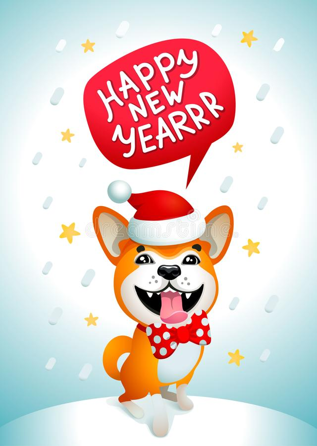 Chien mignon avec l'inscription de bonne année Chien jaune de sourire avec le chapeau rouge du père noël sur un fond bleu de Noël illustration de vecteur